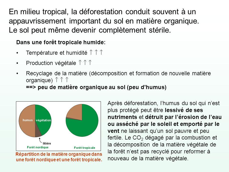 En milieu tropical, la déforestation conduit souvent à un appauvrissement important du sol en matière organique. Le sol peut même devenir complètement