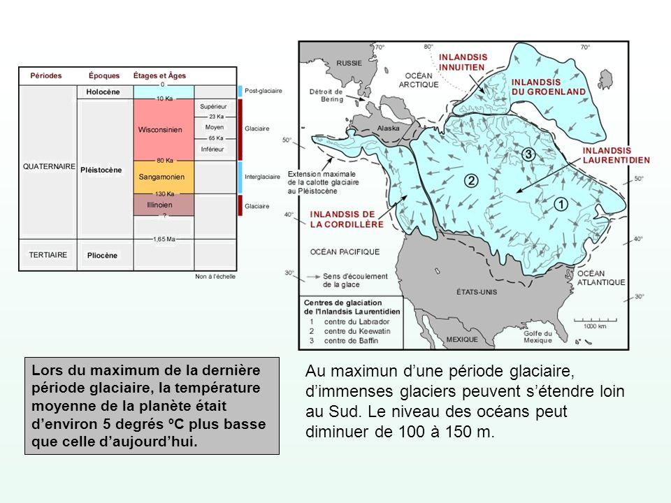 Au maximun dune période glaciaire, dimmenses glaciers peuvent sétendre loin au Sud. Le niveau des océans peut diminuer de 100 à 150 m. Lors du maximum