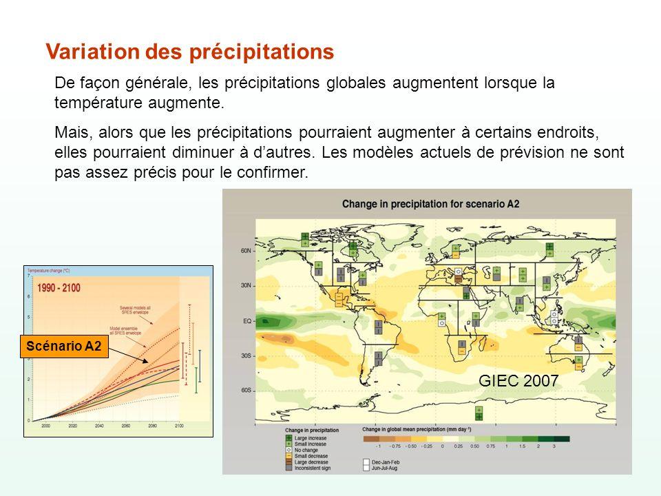 Variation des précipitations De façon générale, les précipitations globales augmentent lorsque la température augmente. Mais, alors que les précipitat
