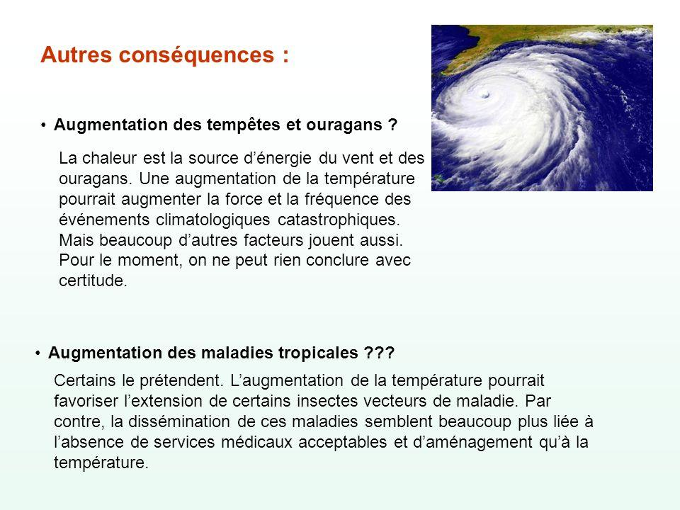 Autres conséquences : Augmentation des tempêtes et ouragans ? Augmentation des maladies tropicales ??? La chaleur est la source dénergie du vent et de