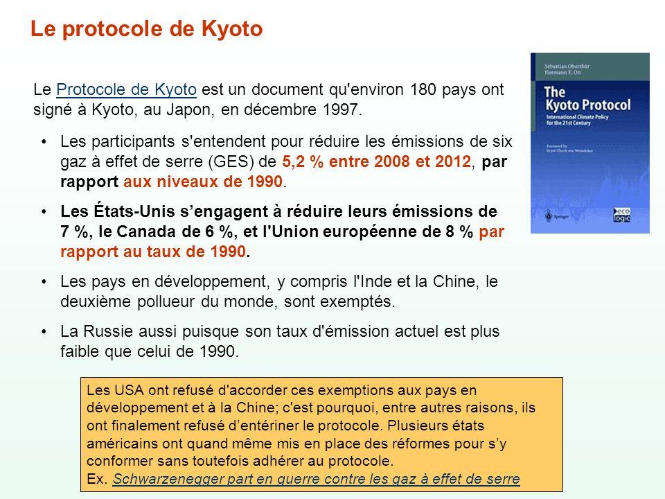 Le Protocole de Kyoto est un document qu'environ 180 pays ont signé à Kyoto, au Japon, en décembre 1997.Protocole de Kyoto Les participants s'entenden