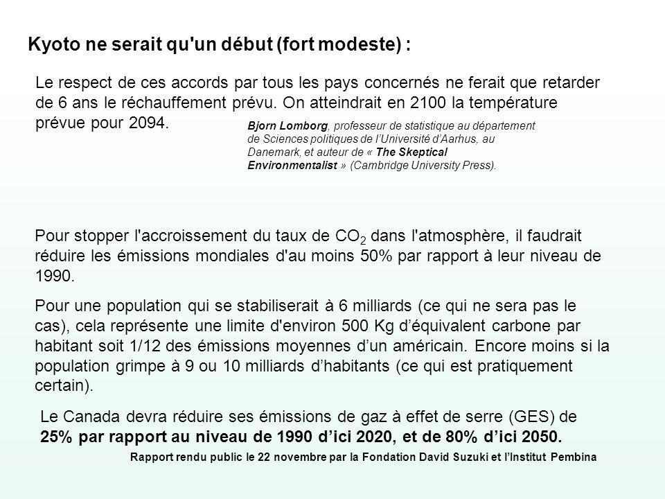 Kyoto ne serait qu'un début (fort modeste) : Le respect de ces accords par tous les pays concernés ne ferait que retarder de 6 ans le réchauffement pr