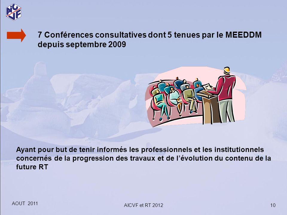7 Conférences consultatives dont 5 tenues par le MEEDDM depuis septembre 2009 Ayant pour but de tenir informés les professionnels et les institutionne