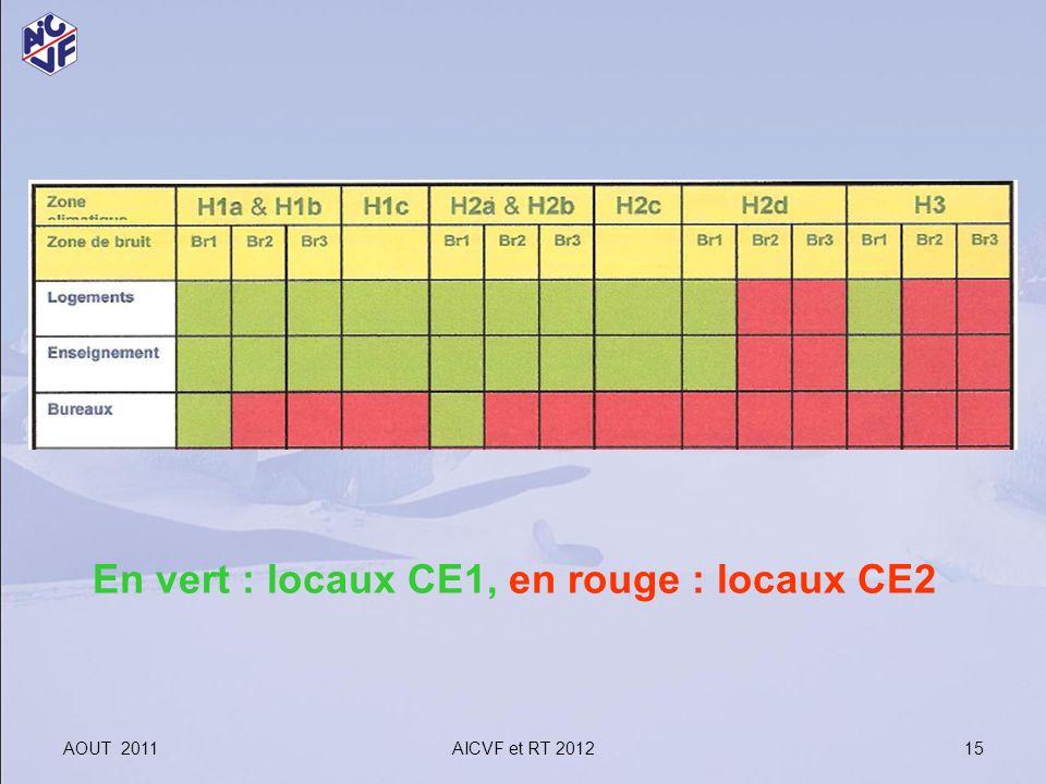 AOUT 2011AICVF et RT 2012 15 En vert : locaux CE1, en rouge : locaux CE2