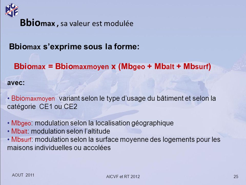 Bbio max, sa valeur est modulée Bbio max sexprime sous la forme: Bbio max = Bbio maxmoyen x (Mb geo + Mb alt + Mb surf ) avec: Bbio maxmoyen variant s