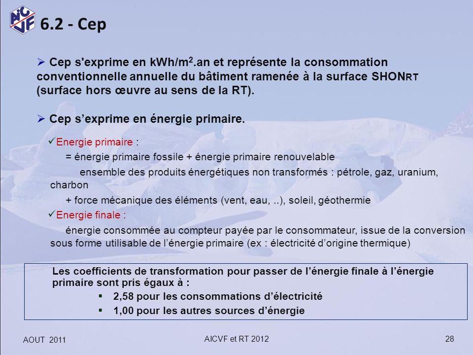 6.2 - Cep Cep s'exprime en kWh/m 2.an et représente la consommation conventionnelle annuelle du bâtiment ramenée à la surface SHON RT (surface hors œu