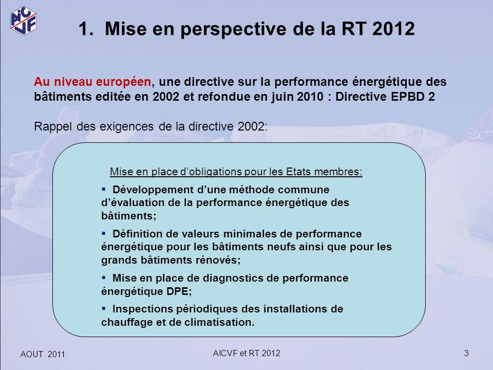 1. Mise en perspective de la RT 2012 Au niveau européen, une directive sur la performance énergétique des bâtiments editée en 2002 et refondue en juin