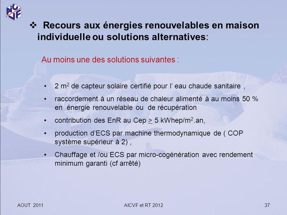 AOUT 2011AICVF et RT 2012 37 Recours aux énergies renouvelables en maison individuelle ou solutions alternatives: Au moins une des solutions suivantes