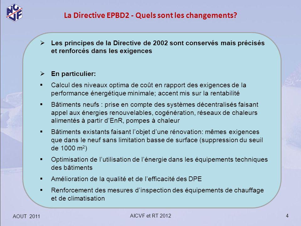 4 La Directive EPBD2 - Quels sont les changements? Les principes de la Directive de 2002 sont conservés mais précisés et renforcés dans les exigences