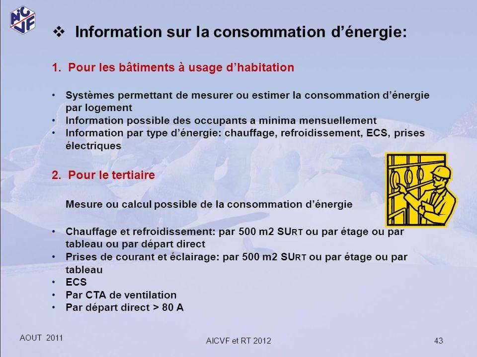 43 Information sur la consommation dénergie: 1. Pour les bâtiments à usage dhabitation Systèmes permettant de mesurer ou estimer la consommation déner