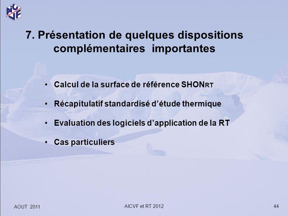 7. Présentation de quelques dispositions complémentaires importantes Calcul de la surface de référence SHON RT Récapitulatif standardisé détude thermi