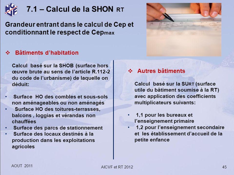 45 7.1 – Calcul de la SHON RT Grandeur entrant dans le calcul de Cep et conditionnant le respect de Cep max Bâtiments dhabitation Calcul basé sur la S