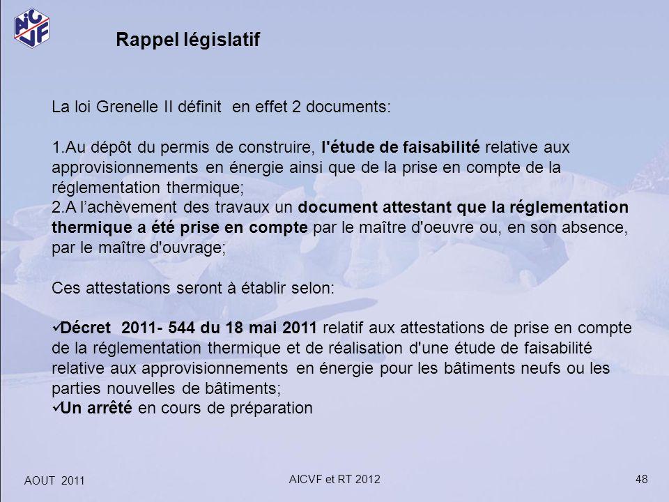 48 Rappel législatif AOUT 2011 AICVF et RT 2012 La loi Grenelle II définit en effet 2 documents: 1.Au dépôt du permis de construire, l'étude de faisab