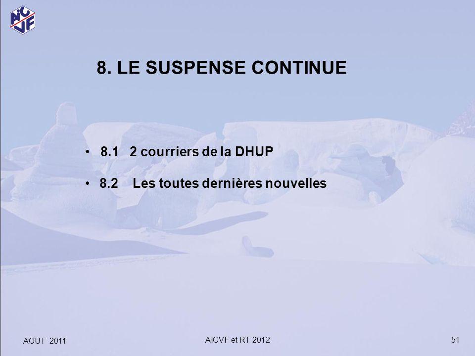 8. LE SUSPENSE CONTINUE 8.1 2 courriers de la DHUP 8.2 Les toutes dernières nouvelles 51 AOUT 2011 AICVF et RT 2012