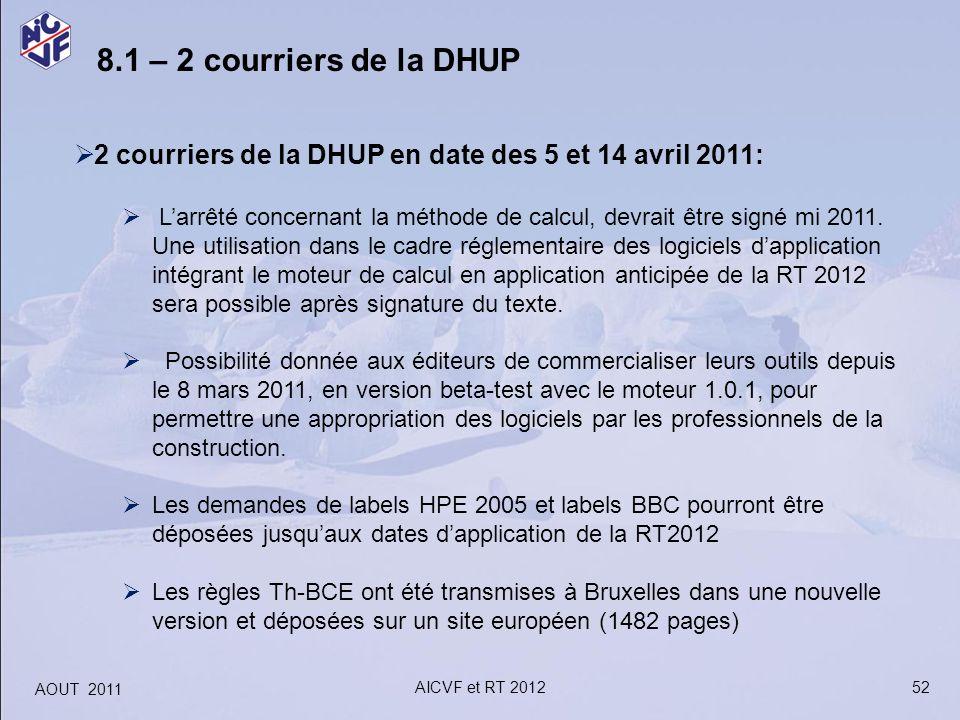 52 8.1 – 2 courriers de la DHUP 2 courriers de la DHUP en date des 5 et 14 avril 2011: Larrêté concernant la méthode de calcul, devrait être signé mi