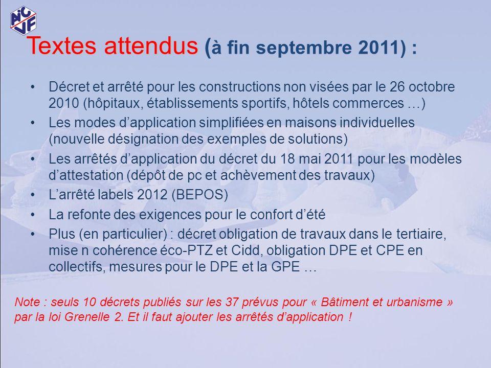 Textes attendus Textes attendus ( à fin septembre 2011) : Décret et arrêté pour les constructions non visées par le 26 octobre 2010 (hôpitaux, établis