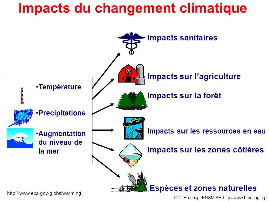 Impacts du changement climatique Impacts sanitaires Impacts sur lagriculture Impacts sur la forêt Impacts sur les ressources en eau Impacts sur les zo