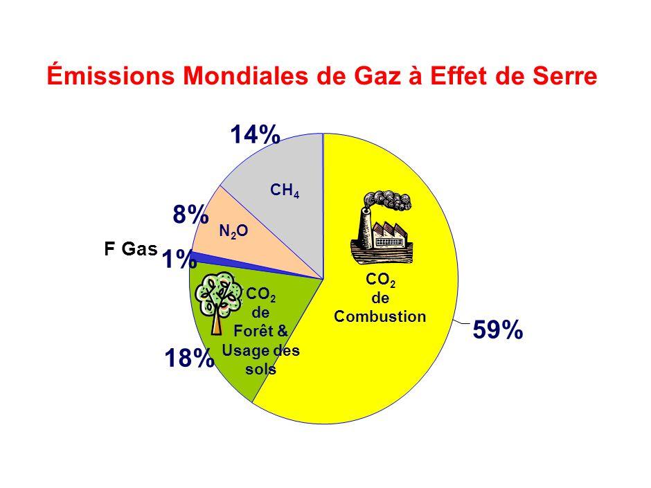18% 1% 8% 14% 59% Émissions Mondiales de Gaz à Effet de Serre CH 4 N2ON2O F Gas CO 2 de Combustion CO 2 de Forêt & Usage des sols