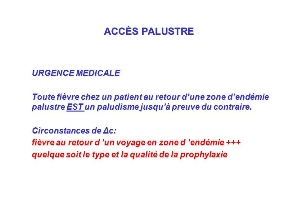 ACCÈS PALUSTRE URGENCE MEDICALE Toute fièvre chez un patient au retour dune zone dendémie palustre EST un paludisme jusquà preuve du contraire.