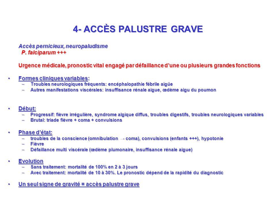 4- ACCÈS PALUSTRE GRAVE Accès pernicieux, neuropaludisme P.