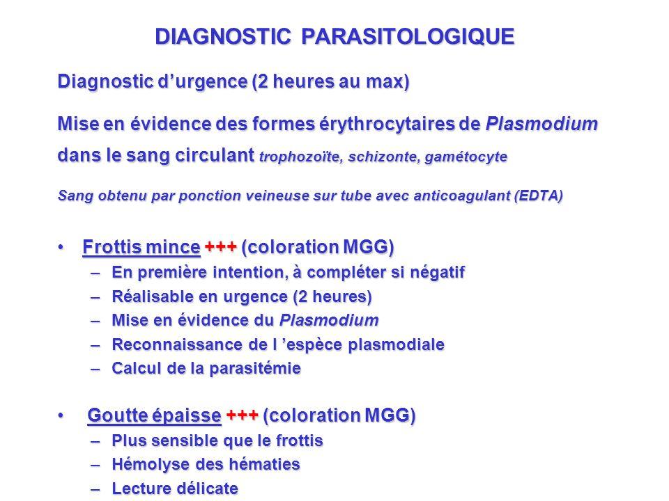 DIAGNOSTIC PARASITOLOGIQUE Diagnostic durgence (2 heures au max) Mise en évidence des formes érythrocytaires de Plasmodium dans le sang circulant trophozoïte, schizonte, gamétocyte Sang obtenu par ponction veineuse sur tube avec anticoagulant (EDTA) Frottis mince +++ (coloration MGG)Frottis mince +++ (coloration MGG) –En première intention, à compléter si négatif –Réalisable en urgence (2 heures) –Mise en évidence du Plasmodium –Reconnaissance de l espèce plasmodiale –Calcul de la parasitémie Goutte épaisse +++ (coloration MGG) Goutte épaisse +++ (coloration MGG) –Plus sensible que le frottis –Hémolyse des hématies –Lecture délicate