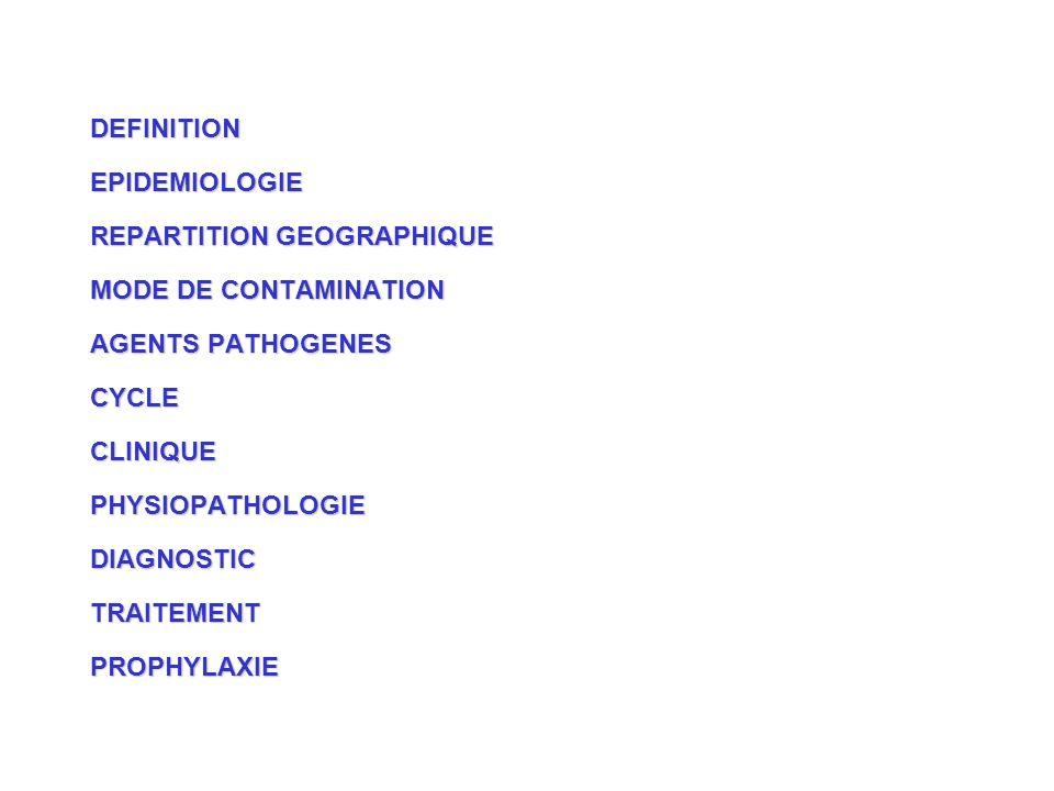 DEFINITIONEPIDEMIOLOGIE REPARTITION GEOGRAPHIQUE MODE DE CONTAMINATION AGENTS PATHOGENES CYCLECLINIQUEPHYSIOPATHOLOGIEDIAGNOSTICTRAITEMENTPROPHYLAXIE
