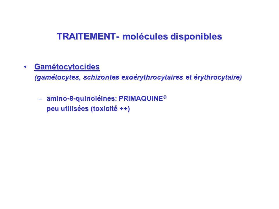 TRAITEMENT- molécules disponibles GamétocytocidesGamétocytocides (gamétocytes, schizontes exoérythrocytaires et érythrocytaire) –amino-8-quinoléines: PRIMAQUINE ® peu utilisées (toxicité ++)