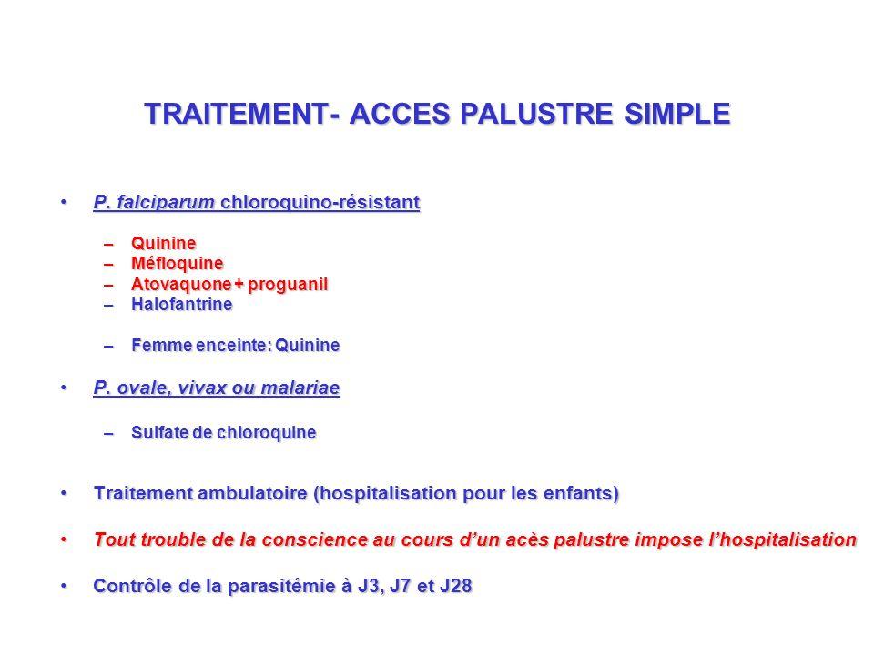 TRAITEMENT- ACCES PALUSTRE SIMPLE P.falciparum chloroquino-résistantP.