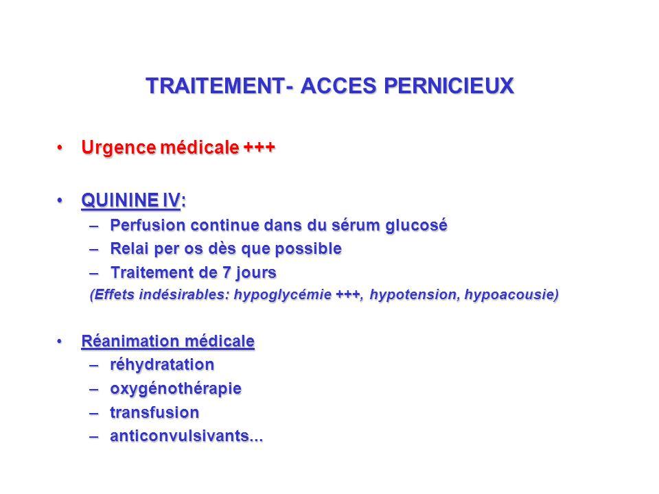 TRAITEMENT- ACCES PERNICIEUX Urgence médicale +++Urgence médicale +++ QUININE IV:QUININE IV: –Perfusion continue dans du sérum glucosé –Relai per os dès que possible –Traitement de 7 jours (Effets indésirables: hypoglycémie +++, hypotension, hypoacousie) Réanimation médicaleRéanimation médicale –réhydratation –oxygénothérapie –transfusion –anticonvulsivants...