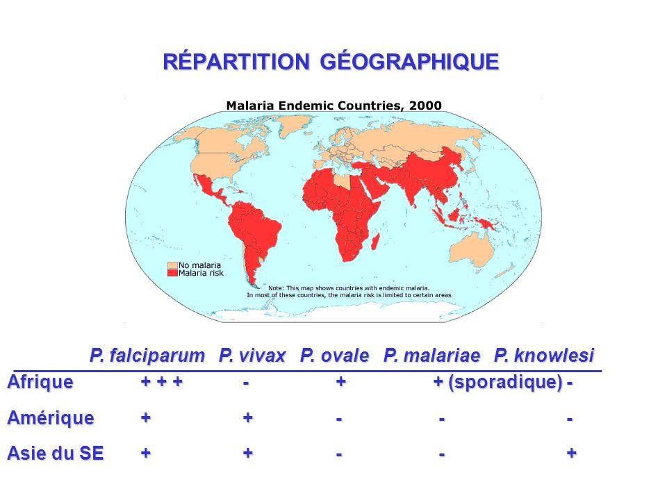 RÉPARTITION GÉOGRAPHIQUE P.falciparum P. vivax P.