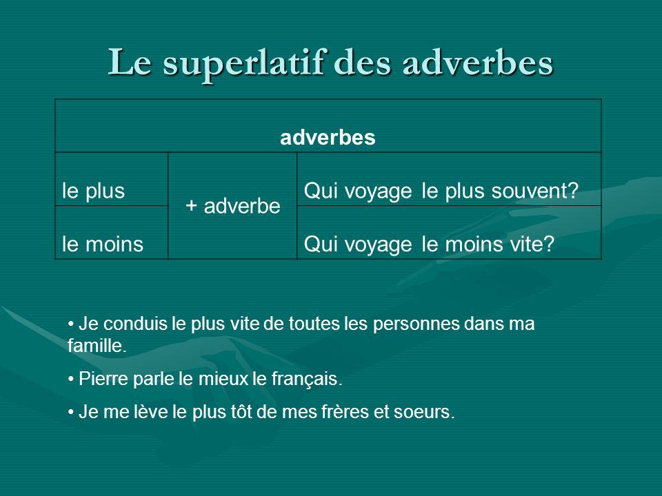 Le superlatif des adverbes adverbes le plus + adverbe Qui voyage le plus souvent? le moinsQui voyage le moins vite? Je conduis le plus vite de toutes