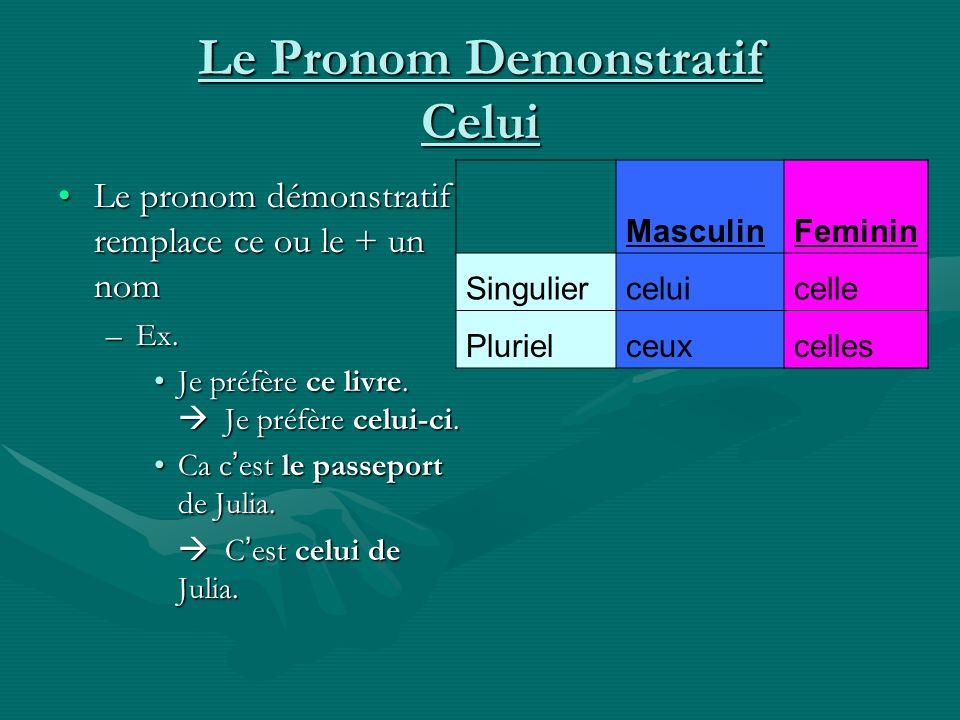 Le Pronom Demonstratif Celui Le pronom démonstratif remplace ce ou le + un nomLe pronom démonstratif remplace ce ou le + un nom –Ex. Je préfère ce liv