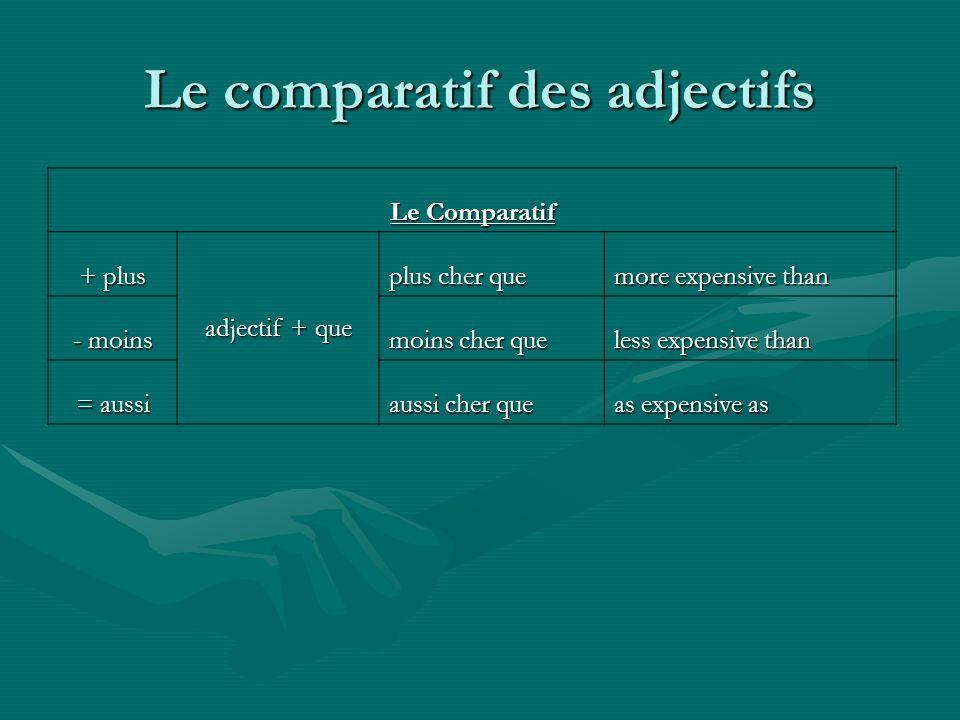 Le comparatif des adjectifs Le Comparatif + plus adjectif + que plus cher que more expensive than - moins moins cher que less expensive than = aussi a