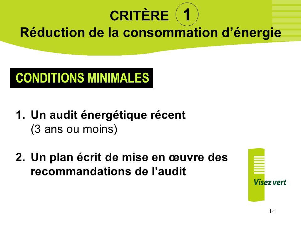 14 CRITÈRE 1 Réduction de la consommation dénergie 1.Un audit énergétique récent (3 ans ou moins) 2.Un plan écrit de mise en œuvre des recommandations