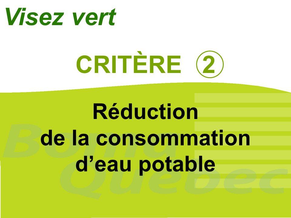 17 CRITÈRE 2 Réduction de la consommation deau potable Visez vert