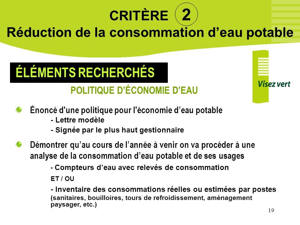 19 CRITÈRE 2 Réduction de la consommation deau potable Énoncé d'une politique pour l'économie deau potable - Lettre modèle - Signée par le plus haut g