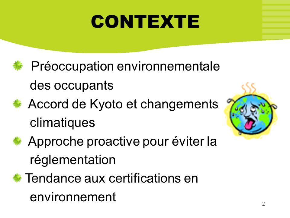 2 CONTEXTE Préoccupation environnementale des occupants Accord de Kyoto et changements climatiques Approche proactive pour éviter la réglementation Te