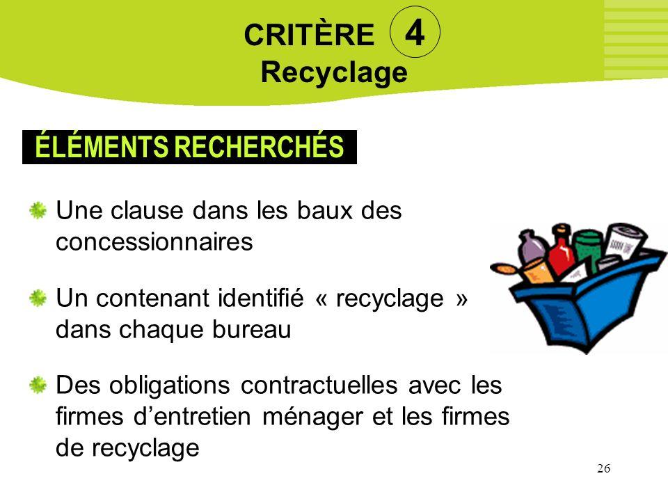 26 CRITÈRE 4 Recyclage Une clause dans les baux des concessionnaires Un contenant identifié « recyclage » dans chaque bureau Des obligations contractu