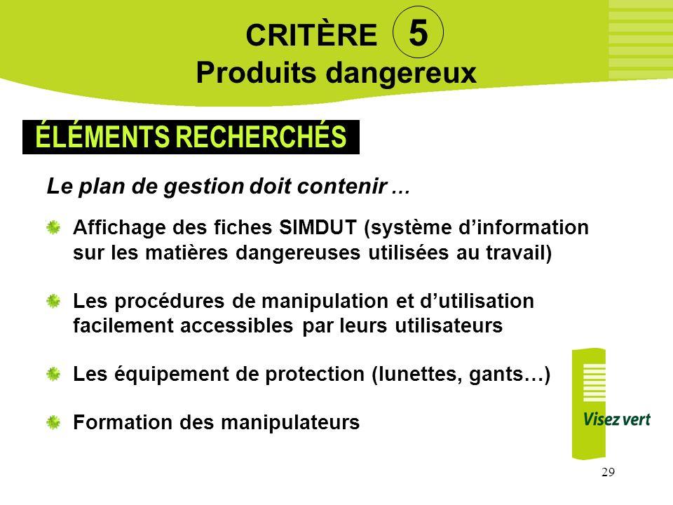 29 CRITÈRE 5 Produits dangereux Le plan de gestion doit contenir … Affichage des fiches SIMDUT (système dinformation sur les matières dangereuses util