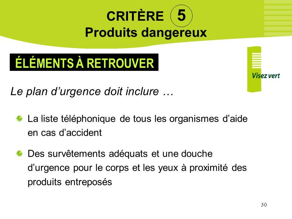 30 CRITÈRE 5 Produits dangereux Le plan durgence doit inclure … La liste téléphonique de tous les organismes daide en cas daccident Des survêtements a
