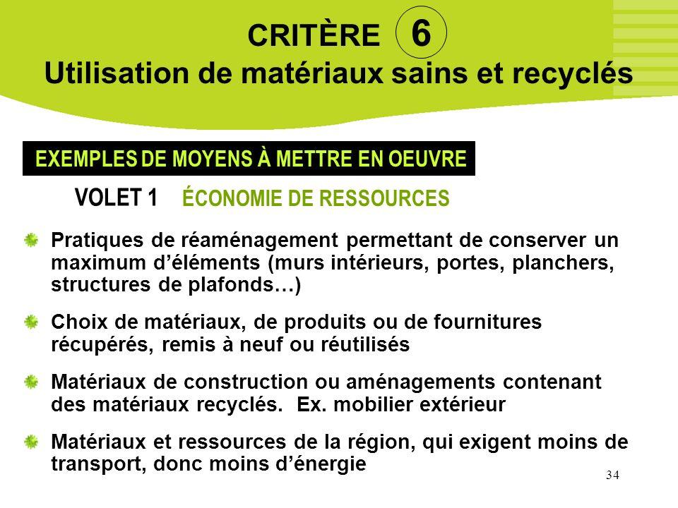 34 CRITÈRE 6 Utilisation de matériaux sains et recyclés Pratiques de réaménagement permettant de conserver un maximum déléments (murs intérieurs, port