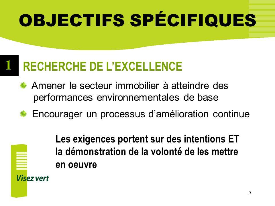 5 OBJECTIFS SPÉCIFIQUES Amener le secteur immobilier à atteindre des performances environnementales de base Encourager un processus damélioration cont