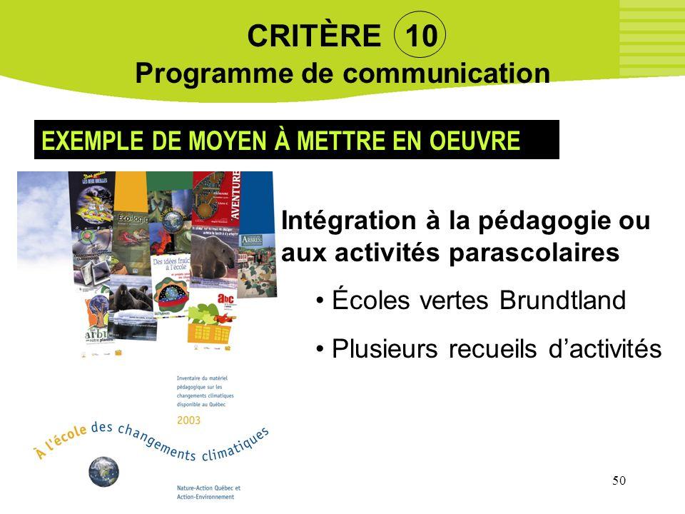 50 CRITÈRE 10 Programme de communication EXEMPLE DE MOYEN À METTRE EN OEUVRE Intégration à la pédagogie ou aux activités parascolaires Écoles vertes B