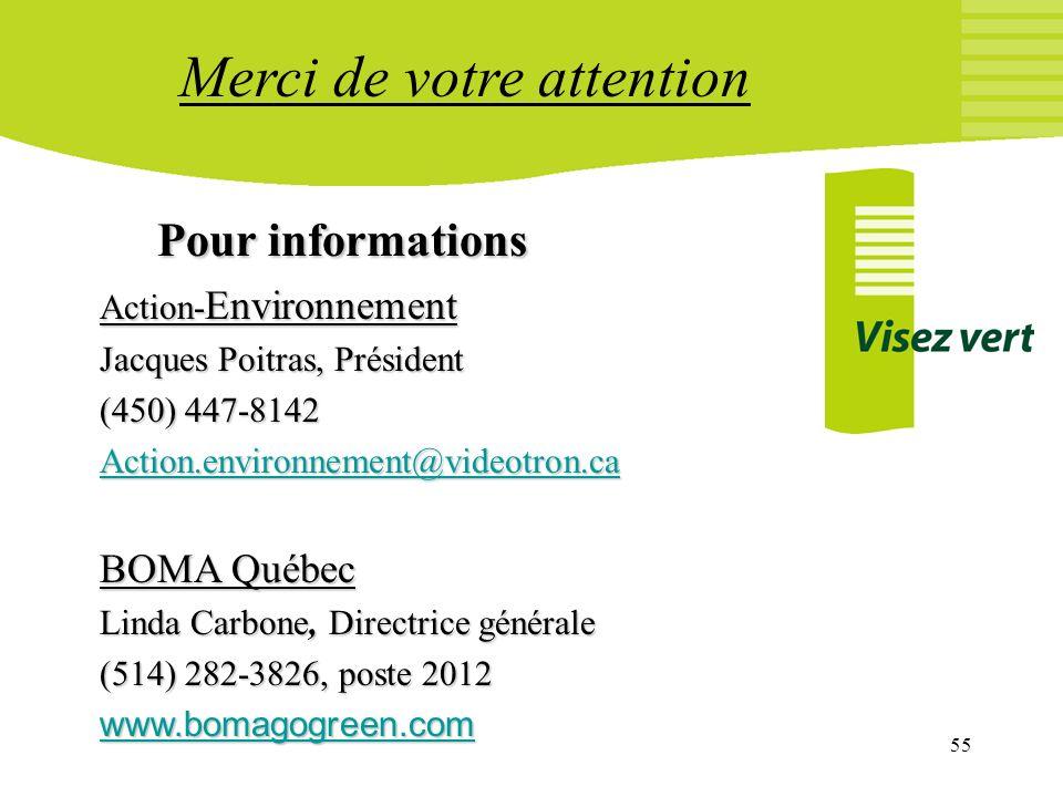 55 Pour informations Action- Environnement Jacques Poitras, Président (450) 447-8142 Action.environnement@videotron.ca BOMA Québec Linda Carbone, Dire