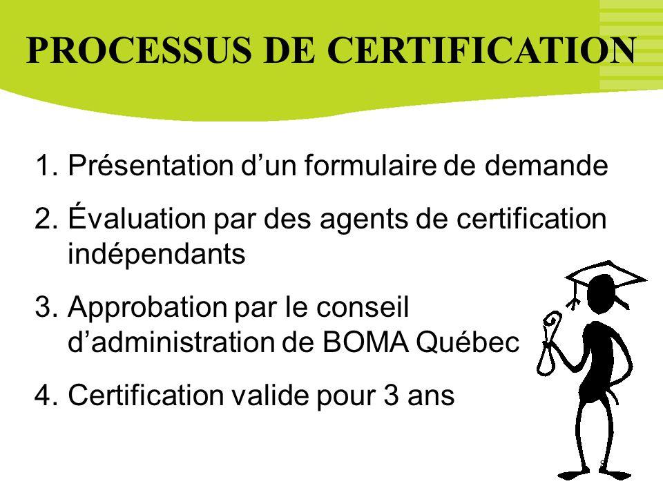 8 PROCESSUS DE CERTIFICATION 1.Présentation dun formulaire de demande 2.Évaluation par des agents de certification indépendants 3.Approbation par le c