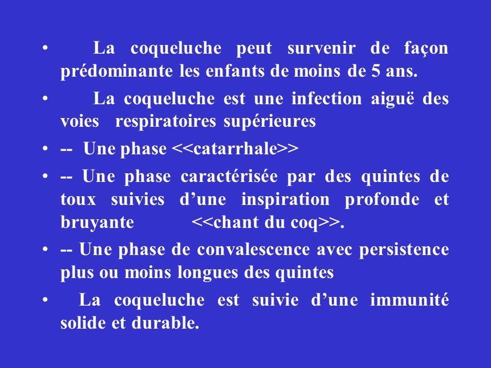 La coqueluche peut survenir de façon prédominante les enfants de moins de 5 ans. La coqueluche est une infection aiguë des voies respiratoires supérie