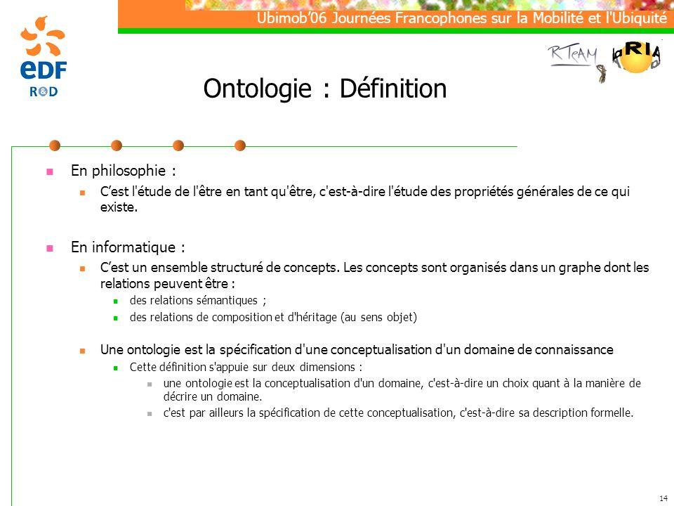 Ubimob06 Journées Francophones sur la Mobilité et l Ubiquité 14 Ontologie : Définition En philosophie : Cest l étude de l être en tant qu être, c est-à-dire l étude des propriétés générales de ce qui existe.