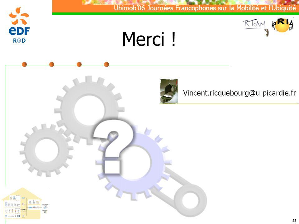 Ubimob06 Journées Francophones sur la Mobilité et l Ubiquité 35 Merci .