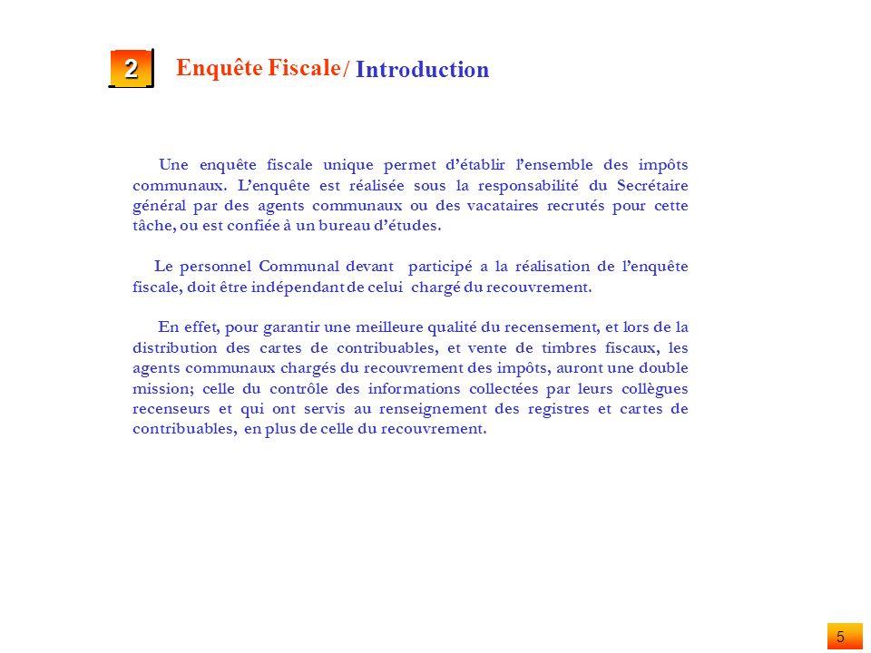 4 2 Enquête Fiscale a b c Introduction Fiche de recensement Utilisation de la Fiche de recensement