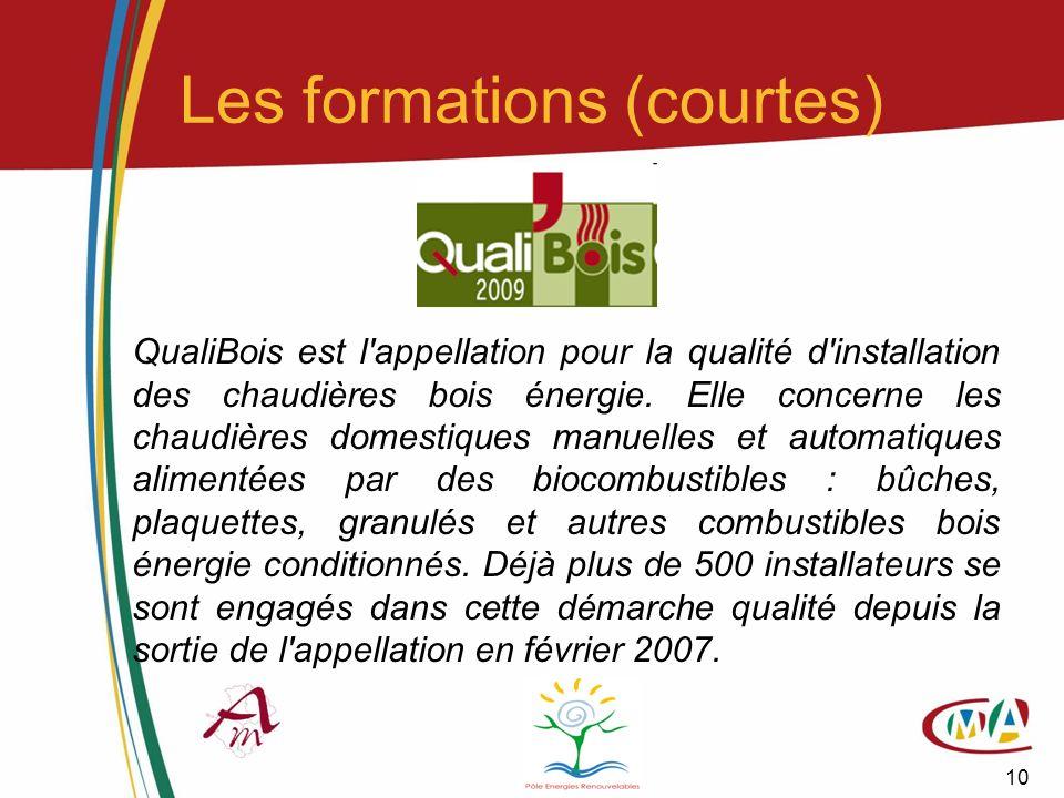 10 Les formations (courtes) QualiBois est l'appellation pour la qualité d'installation des chaudières bois énergie. Elle concerne les chaudières domes